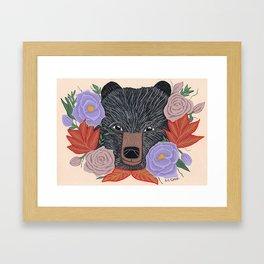 Floral Black Bear portrait - A. C. Clark Framed Art Print