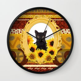 Black Cat Frame Africa pattern Wall Clock