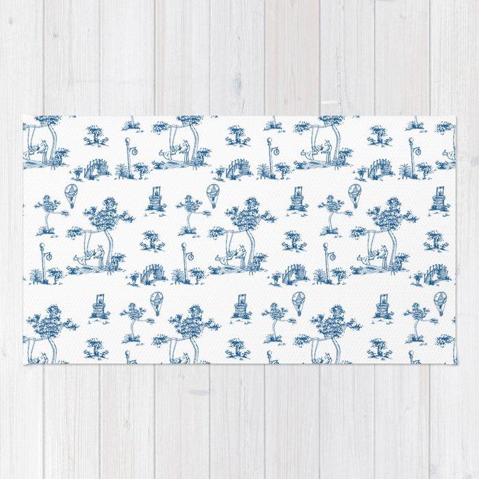 Blue Toile Unicorn Rug