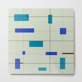 Mid Mod Grid in Blue Metal Print