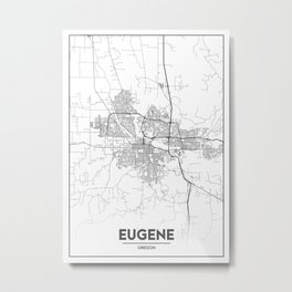 Minimal City Maps - Map Of Eugene, Oregon, United States Metal Print