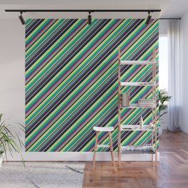 Summer Flowers Inclined Stripes Wall Mural