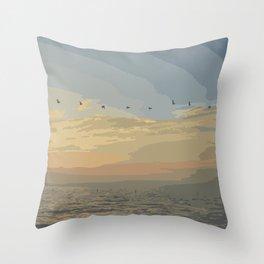 Shore Bird Silhouette Sunset  Throw Pillow