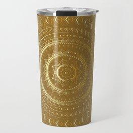 Gold Mandala. Indian decorative pattern. Travel Mug