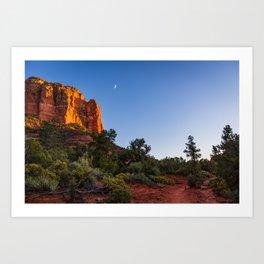 Night and Moon in Sedona Arizona Art Print