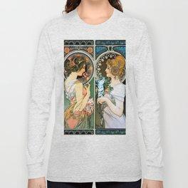 "Alphonse Mucha ""Primrose and Feather"" Long Sleeve T-shirt"