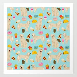 Golden Retriever donuts french fries ice cream pizzas funny dog gifts dog breeds Art Print