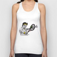 tennis Tank Tops featuring Tennis Federer by Paul Nelson-Esch Art