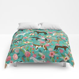 Horses floral horse breeds farm animal pets Comforters