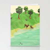 low poly Stationery Cards featuring Down River (Low Poly) by error23