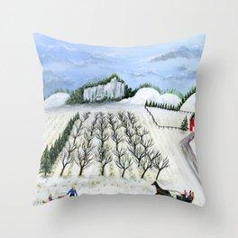 Hilly Horse-Drawn Sleigh Throw Pillow