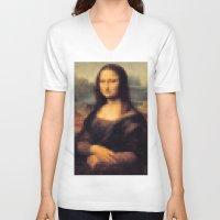 pixel art V-neck T-shirts featuring Pixel art by headhandmade