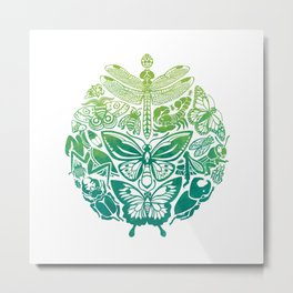 Bugs & Butterflies: green Metal Print