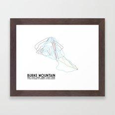 Burke Mountain, VT - Minimalist Trail Art Framed Art Print