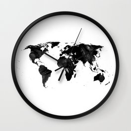 Black watercolor world map Wall Clock