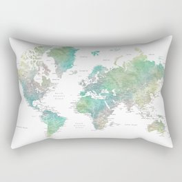 Watercolor world map in muted green and brown Rectangular Pillow
