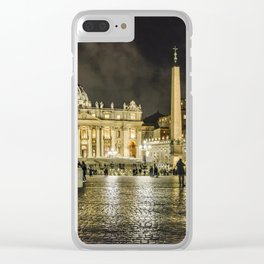 Saint Peters Basilica Winter Night Scene, Rome, Italy Clear iPhone Case