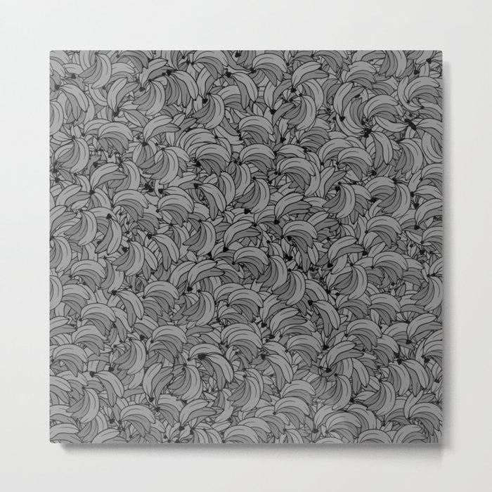 Plenty of Bananas - Gray Metal Print