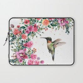 Hummingbird and Flowers Watercolor Animals Laptop Sleeve