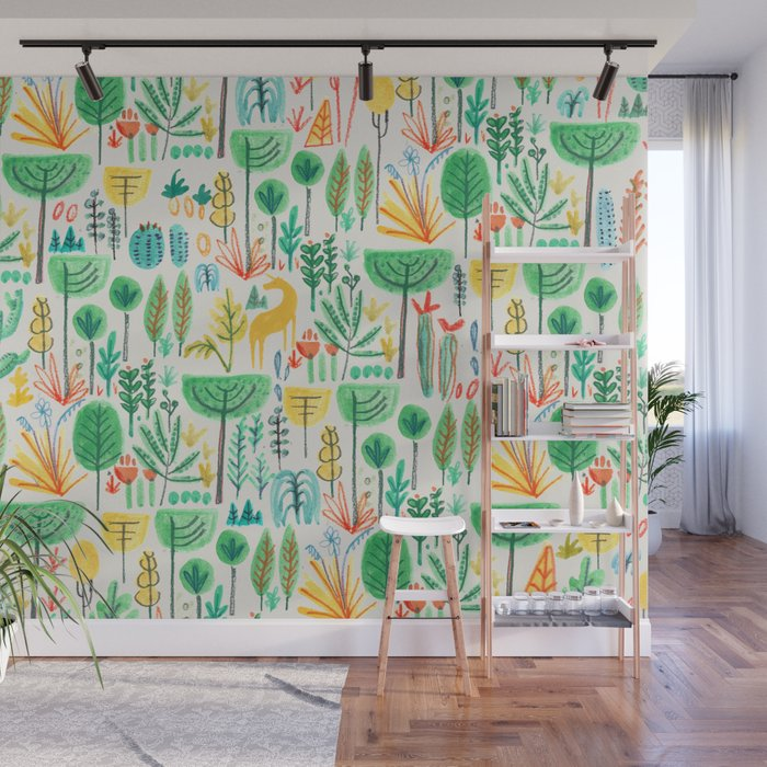 Jungle life with golden unicorn Wall Mural by budikwan Society6