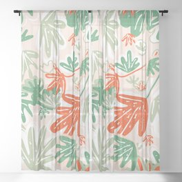 Tropical Abstract Pattern Sheer Curtain