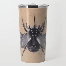 Realism Charcoal Drawing of Beetle Travel Mug