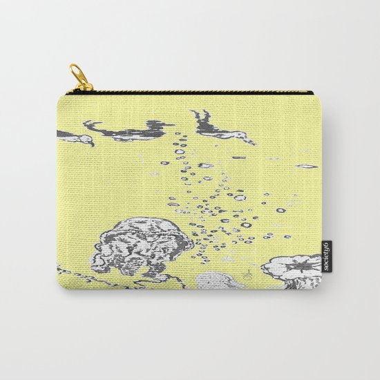 Two Tailed Duck and Jellyfish Baby Yellow Carry-All Pouch
