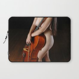 0199-JC Nude Cellist with Her Cello and Bow Naked Young Woman Musician Art Sexy Erotic Sweet Sensual Laptop Sleeve