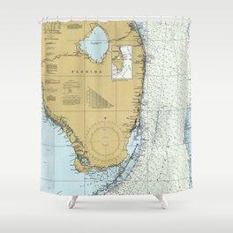 Florida Atlantic Coast Map (1982) Shower Curtain