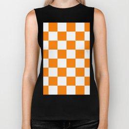 Large Checkered - White and Orange Biker Tank