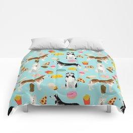 Husky siberian huskies junk food cute dog art sweet treat dogs pet portrait pattern Comforters