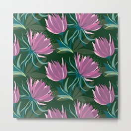 Dark and Moody Purple and Green Floral Metal Print