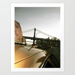 Girl On Taxi Art Print