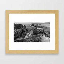 Broken Coast in Black and White Framed Art Print