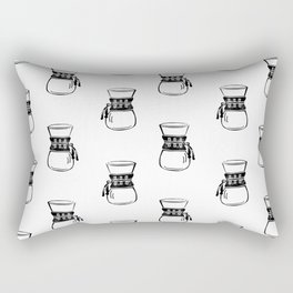 Chemex coffee maker black and white linocut minimal kitchen foodie pattern Rectangular Pillow