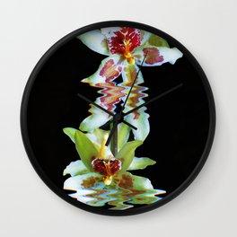 Green flowered Cymbidium Wall Clock