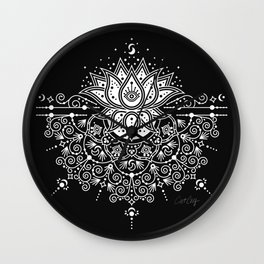 Sacred Lotus Blossom Mandala – White on Black Wall Clock