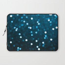 Cyan Blue Sparkly Bokeh Laptop Sleeve
