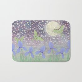 luna moths around the moon with starlit irises Bath Mat