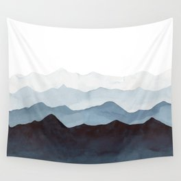 Indigo Mountains Landscape Wall Tapestry