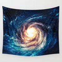 spaceman Wall Tapestries featuring Spiral Galaxy by Zavu