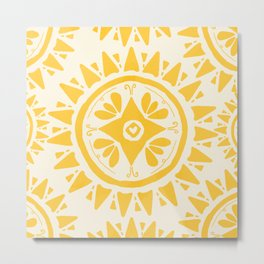 Yellow Bohemian Medallion Art Metal Print
