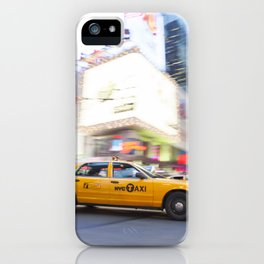 Yellow taxi cab in times square iPhone Case