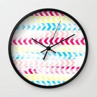 arrow Wall Clocks featuring Arrow by Louise Machado