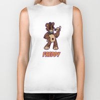 fnaf Biker Tanks featuring Freddy Plush by Silvering