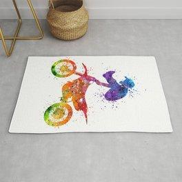 Boy Motocross Trick Colorful Watercolor Art Gift Dirt Bike Rug