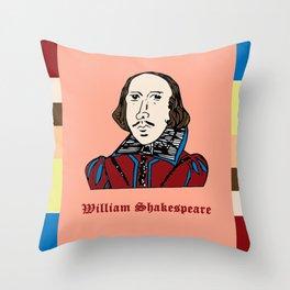 William Shakespeare - hand-drawn portrait Throw Pillow