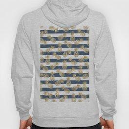Modern nautical navy blue stripes faux gold pineapple Hoody
