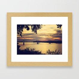 Golden Mississippi River Sunset Framed Art Print