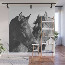 Horses in Black and White Wall Mural